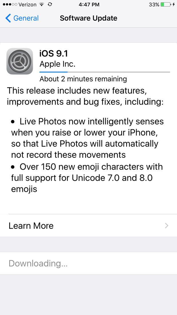iOS 9.1 Update screen