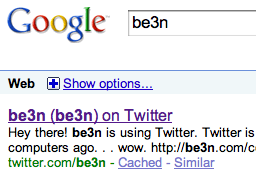 Google Search for be3n