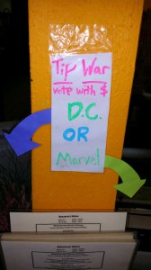 Comic Con 2014 Local Cafe Tip War Marvel Vs DC